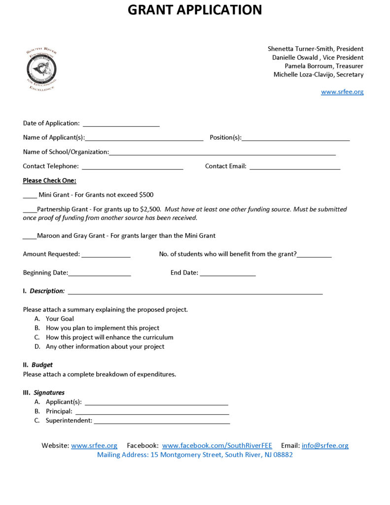 SRFEE Teacher Grant Application