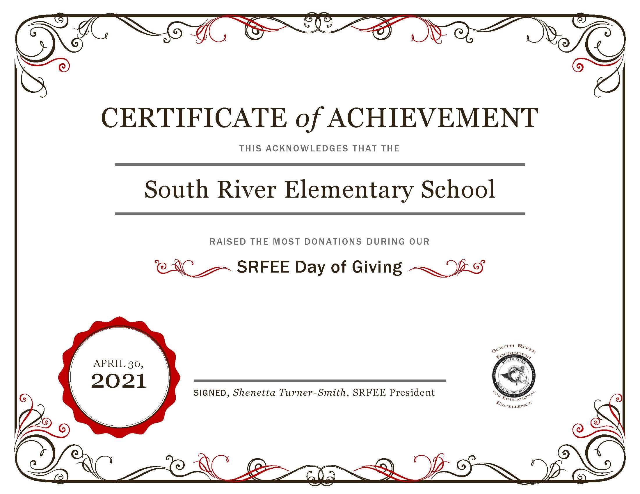 2021 SRFEE Day of Giving Elementary School Certificate of Appreciation