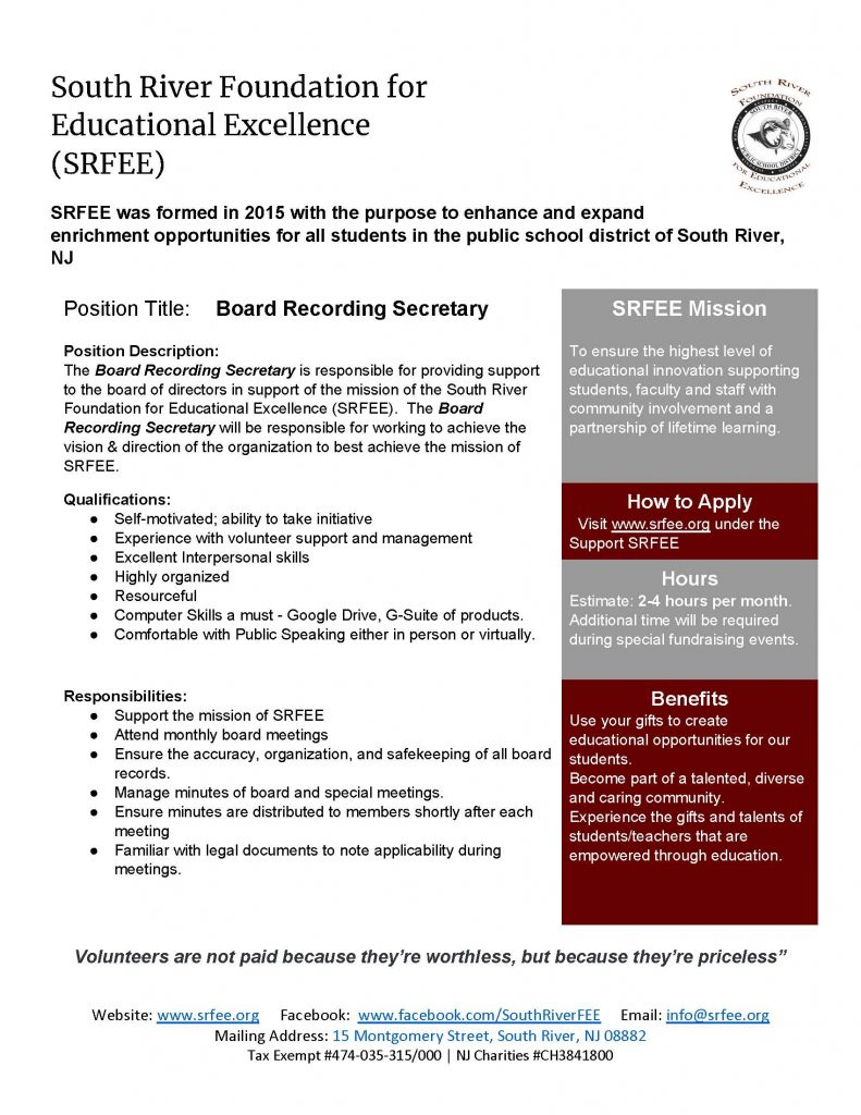 SRFEE Board Recording Secretary
