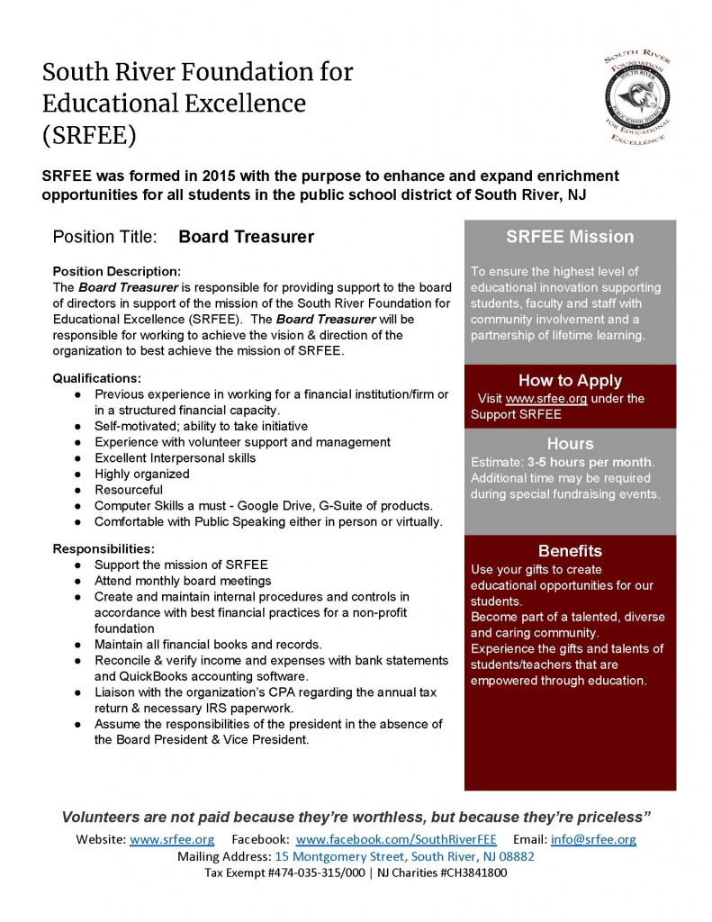 SRFEE Board Treasurer