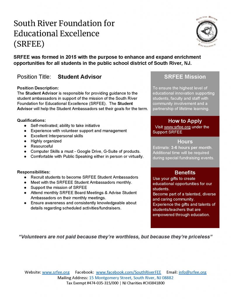 SRFEE Student Advisor