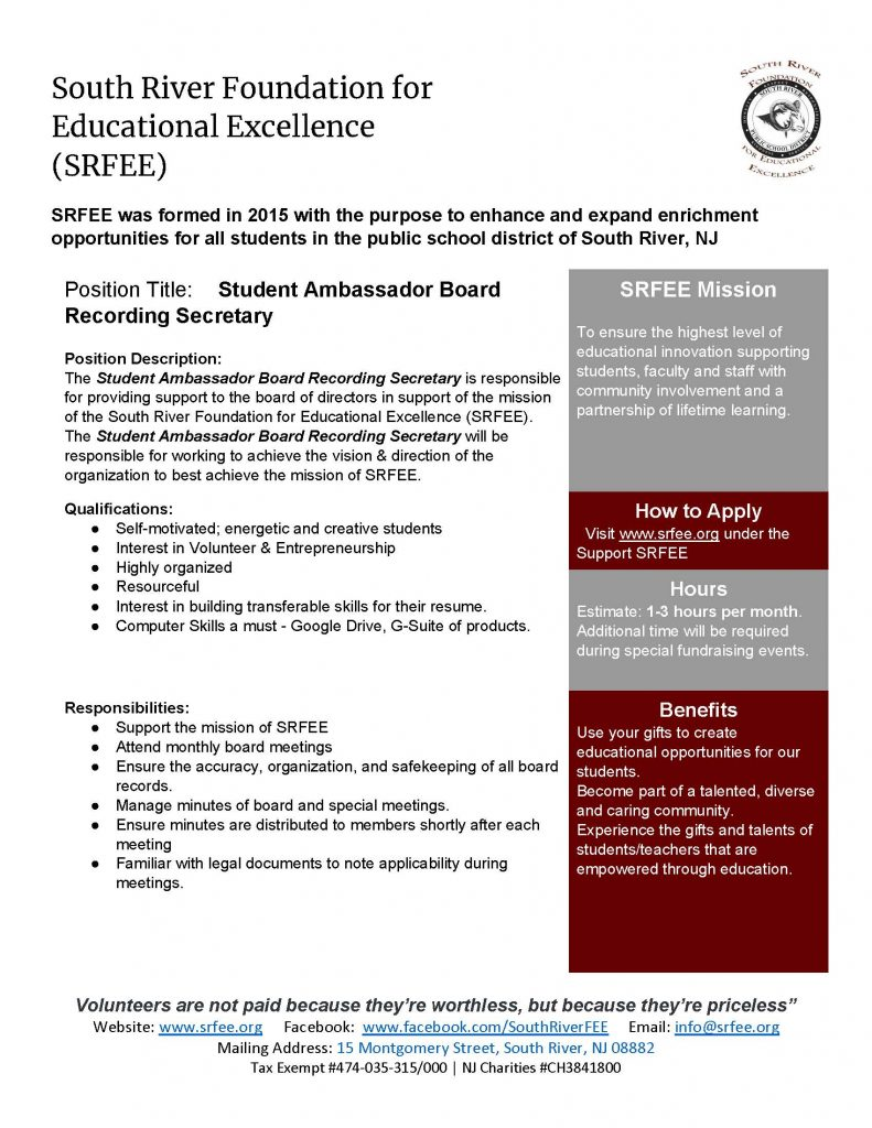 SRFEE Student Ambassador Board Recording Secretary