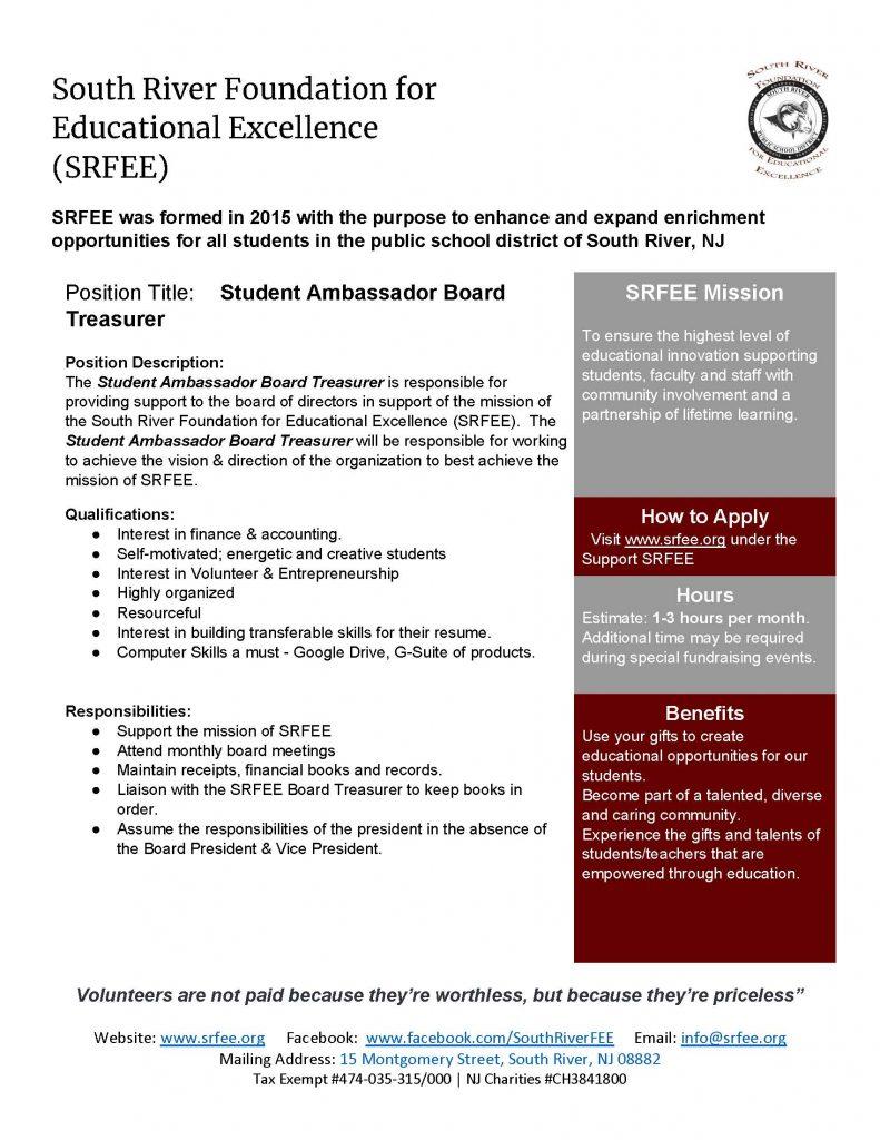 SRFEE Student Ambassador Board Treasurer