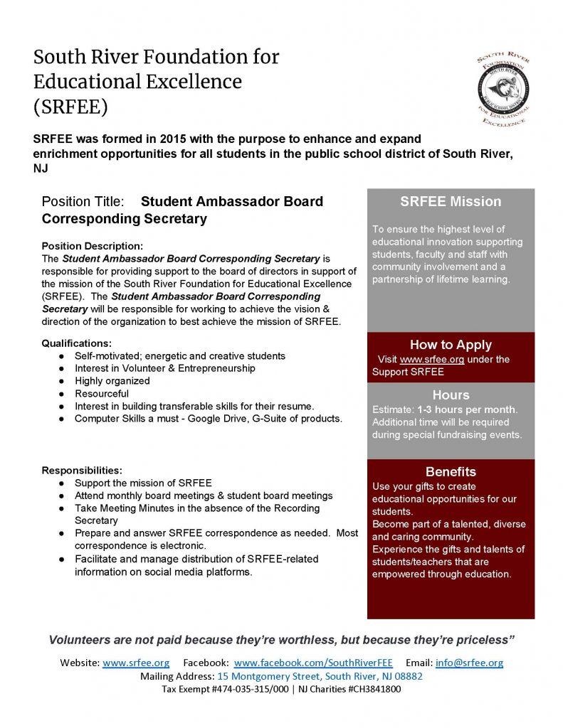 SRFEE Student Ambassador Corresponding Secretary